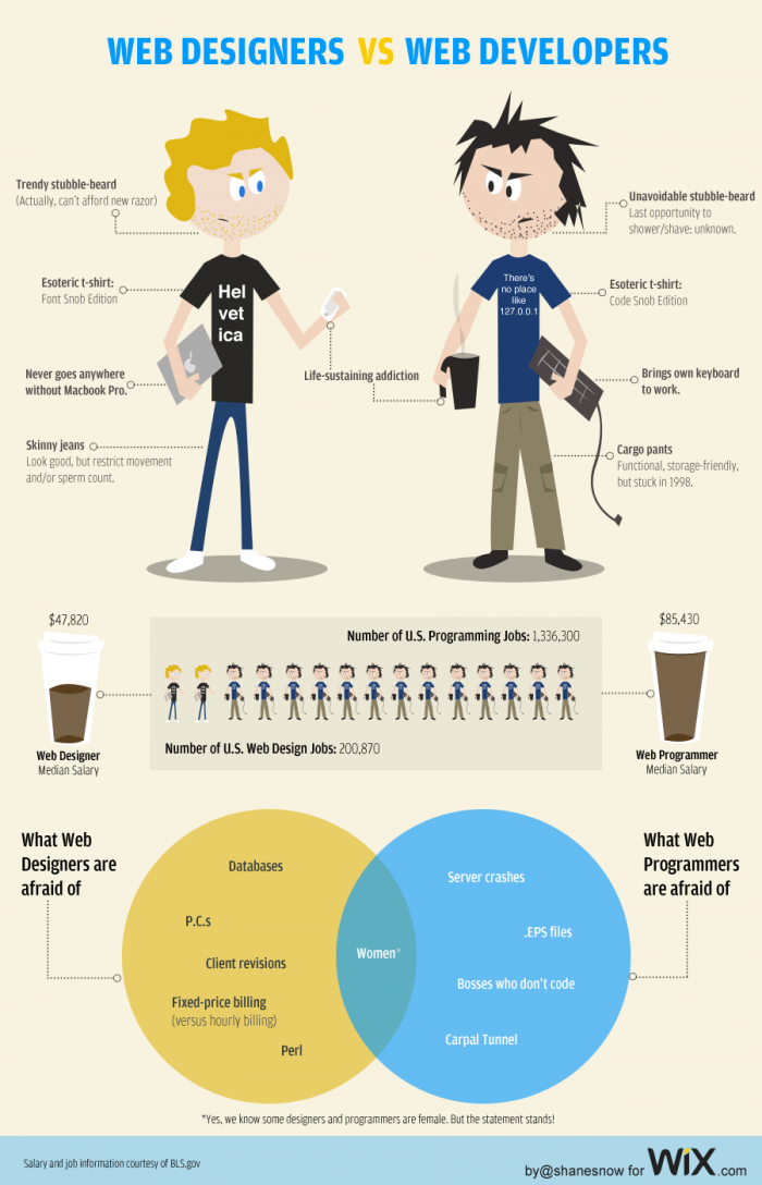 difference between web develop & design infographic